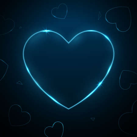 Heart neon empty glowing frame. Vector illustration
