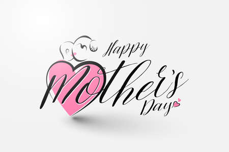 Happy Mothers day calligraphy isolated on white background. Vector illustration 矢量图像