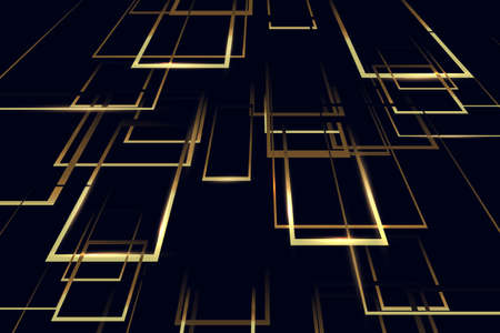 Abstract golden geometric perspective shape on dark background. Luxury background. Vector illustration