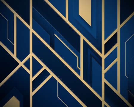 Blue and gold abstract geometric design patterns. Luxury lines background. Vector illustration