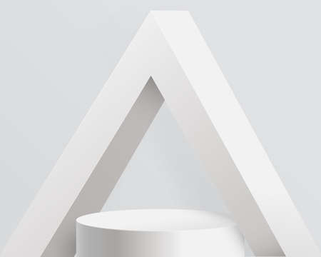 White product display mock up with Triangle abstract architecture concrete interior. 3d podium. Vector illustration Ilustração