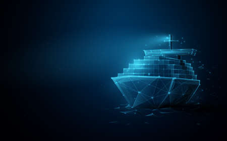 Container cargo ship boat in the sea. Logistics import, export, shipping or transportation concept background. Low poly, geometric, wire, Particles, lines, and triangles outline. 3d vector illustration