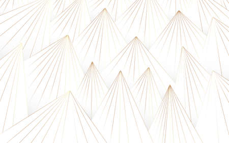 Abstract white and gold lines triangle pattern background. Luxury concept. minimal style Illusztráció
