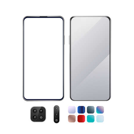 Front, back smartphone mockup with camera and colors set. Blank display. 3d vector illustration