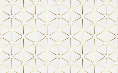 Abstract white and gold luxury geometric pattern background. 3d Vector illustration