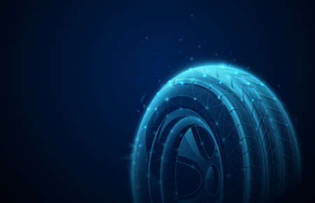 Technology car tire background. Low poly, geometric, wire, Particles, lines, and triangles outline. Vector illustration Illusztráció