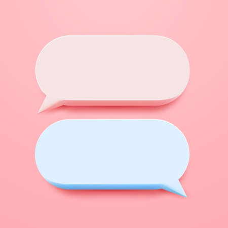 Minimal blank 3d chat boxes sign. 3d vector illustration