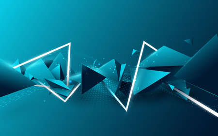Abstract blue triangle floating diffusion with white laser lines in Futuristic technology digital hi-tech concept. 3d vector illustration Illusztráció