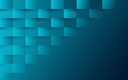 Abstract blue turquoise color modern square pattern background. 3d vector illustration