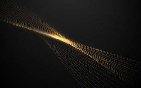 Abstract luxury gold light lines on dark background. Vector illustration