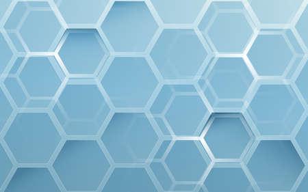 Abstract blue geometric hexagon background. Technology digital hi tech with healthcare concept background. Vector illustration Ilustração
