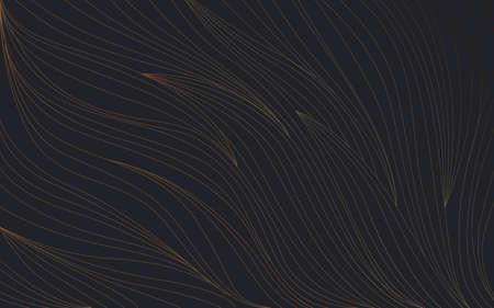 Abstract luxury gold line wave curve texture on dark background. Vector illustration Ilustração