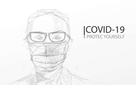 A person wearing protection face mask against coronavirus. lines, triangles and particle style design. Vector illustration