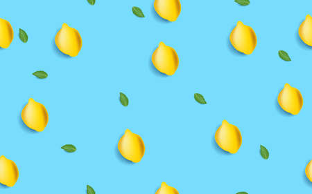 The yellow lemon seamless pattern on bright blue background. Minimal trendy summer concept. Vector illustration Ilustração