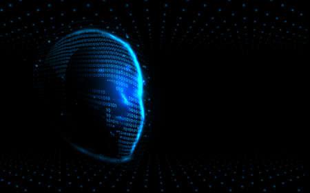 Realistic 3d man head. Artificial intelligence. AI. Big data and futuristic technology digital hi tech. Illustration vector