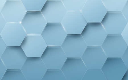 Abstract blue geometric hexagon background. Technology digital hi tech with healthcare concept background. 3d Vector illustration Ilustração