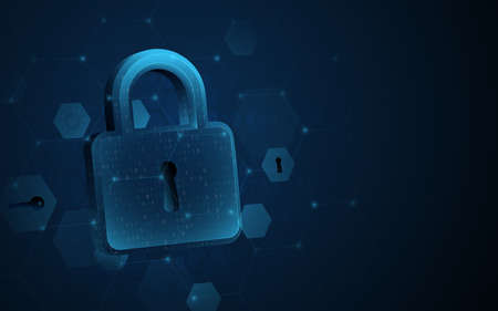 Digital padlock with data protection privacy concept. Abstract cybersecurity network high-tech digital technology background