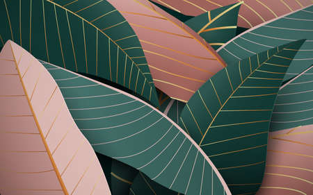 Nature green and gold luxury background. Simple flat style. Vector illustration