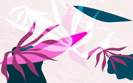 Abstract jungle plants and Creative collage contemporary design. Vector illustration