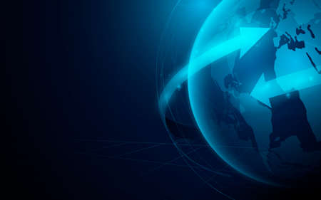 Globe and arrow. Globe connections network with futuristic technology digital hi tech background. Vector illustration Ilustração