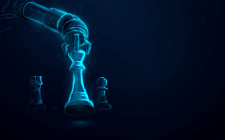 Robot arm playing chess. Artificial Intelligence, AI. Low poly, lines, triangles and particle style design. Vector illustration