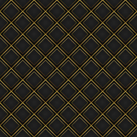 Abstract gold border with black grid pattern vintage luxury seamless background. 3d vector illustration