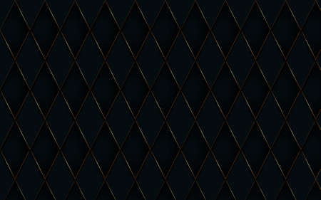 Abstract gold border with black diamond pattern luxury background. 3d vector illustration
