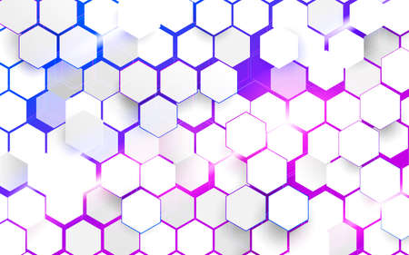 Abstract white hexagons pattern technology overlaps on blue and violet background. Futuristic technology digital hi tech concept. Vector illustration