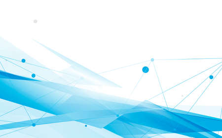 Abstract blue and white geometric overlap with lines connection futuristic technology digital hi tech background. Vector illustration Ilustração