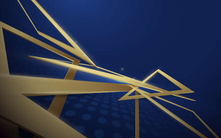 3d abstract gold triangles scatter on blue background. Futuristic technology digital hi-tech background. Vector illustration