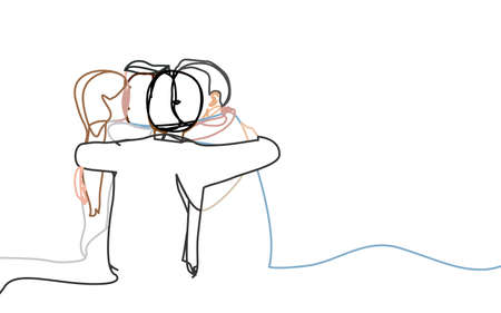 Continuous line drawings of friends embrace greeting. Vector illustration