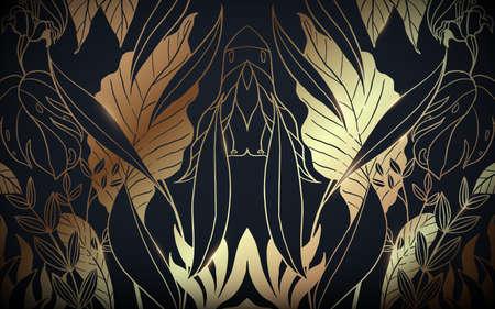 Abstract luxury vintage gold and black floral pattern background. Vector illustration Ilustração