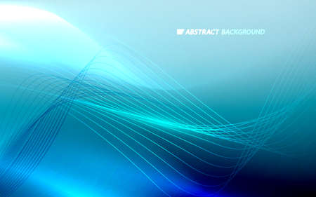 Abstract glowing light dynamic waves on blue background. Futuristic technology digital hi-tech concept. Vector illustration