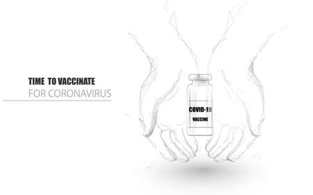 Hands holding Coronavirus 2019. Coronavirus Vaccine. Health care and protection. Hand drawn black and white low polygon concept design. Vector illustration