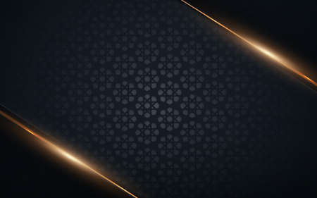 Abstract geometric Islamic decoration pattern on blue background. Gold and black luxury background.Vector illustration