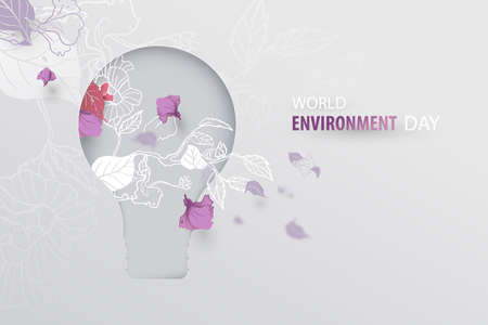 World environment day. Sustainable environment. Hand drawn spring blossom falling petals with light bulb papercut. Vector illustration