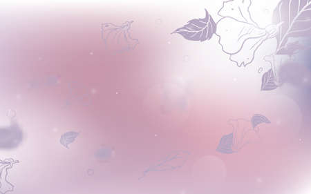 Hand drawn spring blossom falling petals and blurred elements on soft pink background. Vector illustration