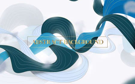 Abstract Wave liquid shape in blue, green, white, and gold color background. Vector illustration Ilustração