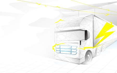 Electric trailer truck transportation. Electric vehicle. Electric autonomous. Vector illustration