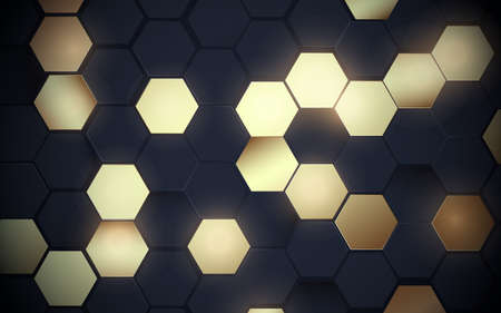 Abstract black and glowing gold hexagon pattern with futuristic technology digital hi-tech background. Luxury concept. Vector illustration