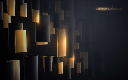 Abstract gold and black geometric luxury and futuristic technology concept background. Vector illustration