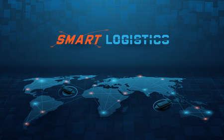 Smart global logistics network. Business logistics and transportation. Cargo ship. Vector illustration