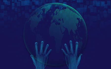 Hand holding with the globe. Futuristic technology digital hi-tech concept background. Vector illustration Vettoriali