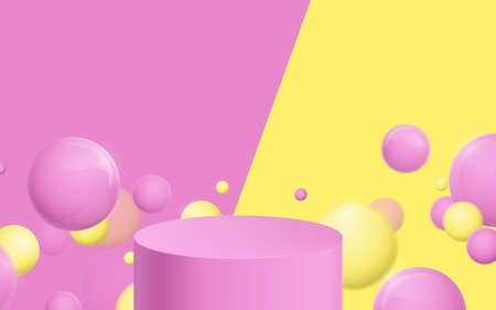 Pink and Yellow product display mockup. 3d podium with Bubble balls floating. Vector illustration Vettoriali