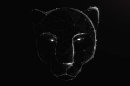 A tiger head or black panther. Low poly, lines, triangles, and particle style design. Vector illustration Vettoriali