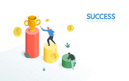 Businessmen compete for trophy on a Financial graph and Chart stairs. Success, Challenge, Winning, and Leadership Concept. Flat design style. Vector illustration