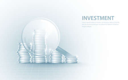 Magnifying glass zoom focus on coins stack growing. Business growth investment and financial concept. Vector illustration