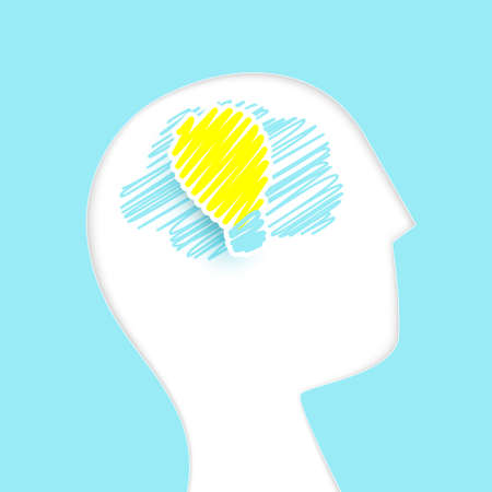 The human brain with a light bulb. Simple flat, Paper art, and  Handdrawn rough marker style. Vector illustration