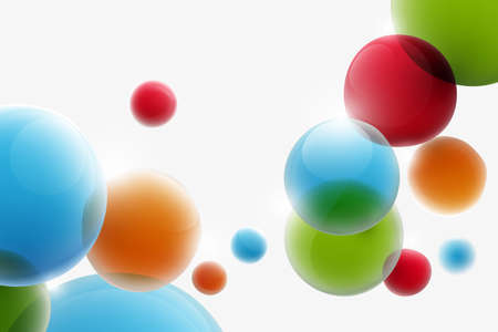 Abstract colorful funny bubbles floating in the air. Vector illustration