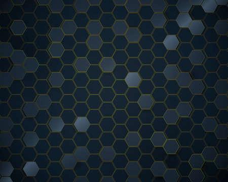 Abstract dark blue hexagon pattern technology background. Futuristic technology digital hi tech concept. Vector illustration Vettoriali